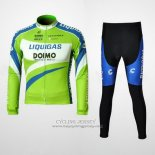 2010 Jersey Liquigas Doimo Long Sleeve Blue And Green