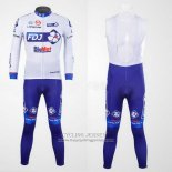 2012 Jersey FDJ Long Sleeve White And Sky Blue