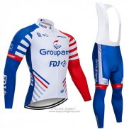 2018 Jersey Groupama FDJ Long Sleeve White Blue Red
