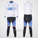 2010 Jersey FDJ Long Sleeve White And Sky Blue