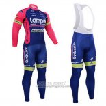 2015 Jersey Lampre Merida Long Sleeve Pink And Blue