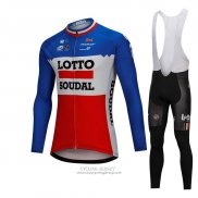 2018 Jersey Lotto Soudal Long Sleeve Blue and Red