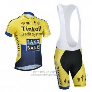 2014 Jersey Tinkoff Saxo Bank Blue And Yellow