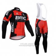 2015 Jersey BMC Long Sleeve Black And Red