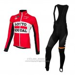 2015 Jersey Lotto Soudal Long Sleeve Red And Black