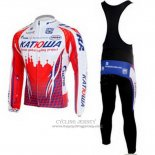 2011 Jersey Katusha Long Sleeve White And Red