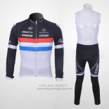 2011 Jersey Trek Leqpard Champion Francia Long Sleeve Black And White