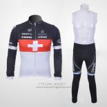 2011 Jersey Trek Leqpard Champion Svizzera Long Sleeve Red And White