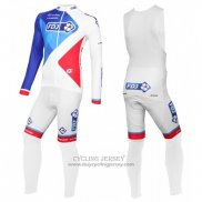 2016 Jersey FDJ Long Sleeve White And Blue