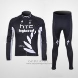 2011 Jersey HTC Highroad Long Sleeve Black And White