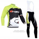 2014 Jersey Castelli SIDI Long Sleeve Black And Green