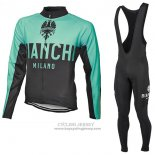 2017 Jersey Bianchi Milano ML Long Sleeve Green And Black