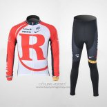 2011 Jersey Radioshack Long Sleeve White And Red