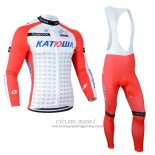 2014 Jersey Katusha Long Sleeve White And Red