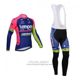 2014 Jersey Lampre Merida Long Sleeve Pink And Blue