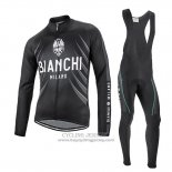 2016 Jersey Bianchi Long Sleeve Black And White