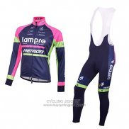 2016 Jersey Lampre Long Sleeve Blue And Pink