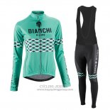 2016 Jersey Women Bianchi Long Sleeve Black And Green