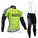 2018 Jersey Euskadi Murias Long Sleeve Green and Black