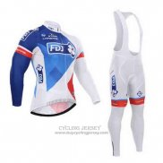 2015 Jersey FDJ Long Sleeve White And Blue