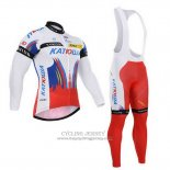 2015 Jersey Katusha Long Sleeve White And Red