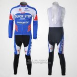 2011 Jersey Quick Step Floor Long Sleeve White And Sky Blue