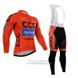 2015 Jersey CCC Long Sleeve Black And Orange