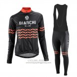 2016 Jersey Women Bianchi Long Sleeve Black And Orange