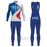 2017 Jersey FDJ Long Sleeve Blue and White