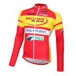 2016 Jersey Wallonie Bruxelles Long Sleeve Yellow And Red