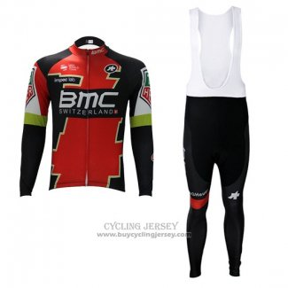 2017 Jersey BMC Long Sleeve Red And Green