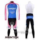 2010 Jersey Lampre Farnese Vini Long Sleeve Pink And Light Blue