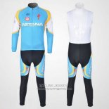 2012 Jersey Astana Long Sleeve Light Blue And Black