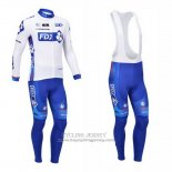 2013 Jersey FDJ Long Sleeve White And Sky Blue