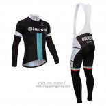 2014 Jersey Bianchi Long Sleeve Black And Green