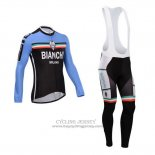 2014 Jersey Bianchi Long Sleeve Black And Sky Blue