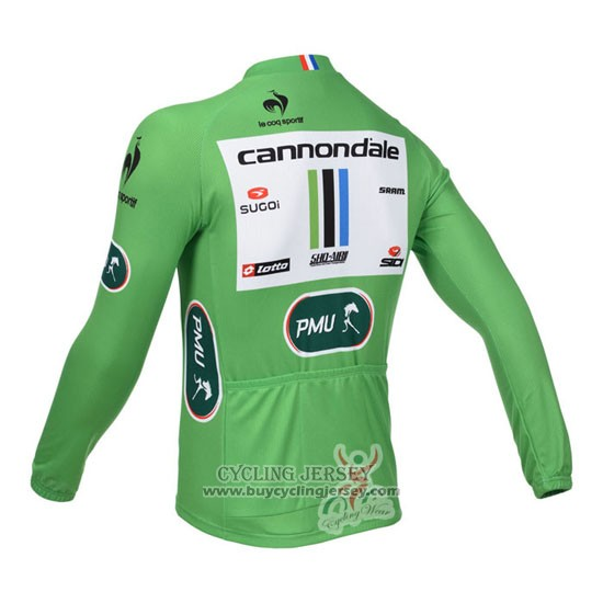 2013 Jersey Cannondale Long Sleeve Lider Green And White