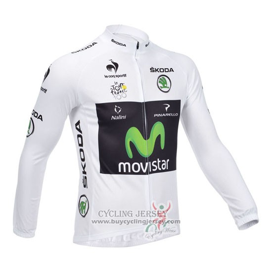 2013 Jersey Movistar Long Sleeve Lider White