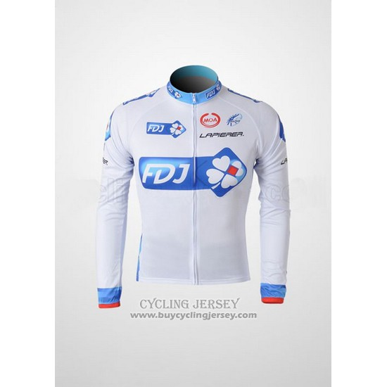 2010 Jersey FDJ Long Sleeve White And Light Blue