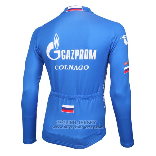 2016 Jersey Gazprom Rusvelo Colnago Long Sleeve Blue And White