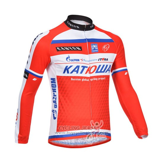 2013 Jersey Katusha Long Sleeve White And Red