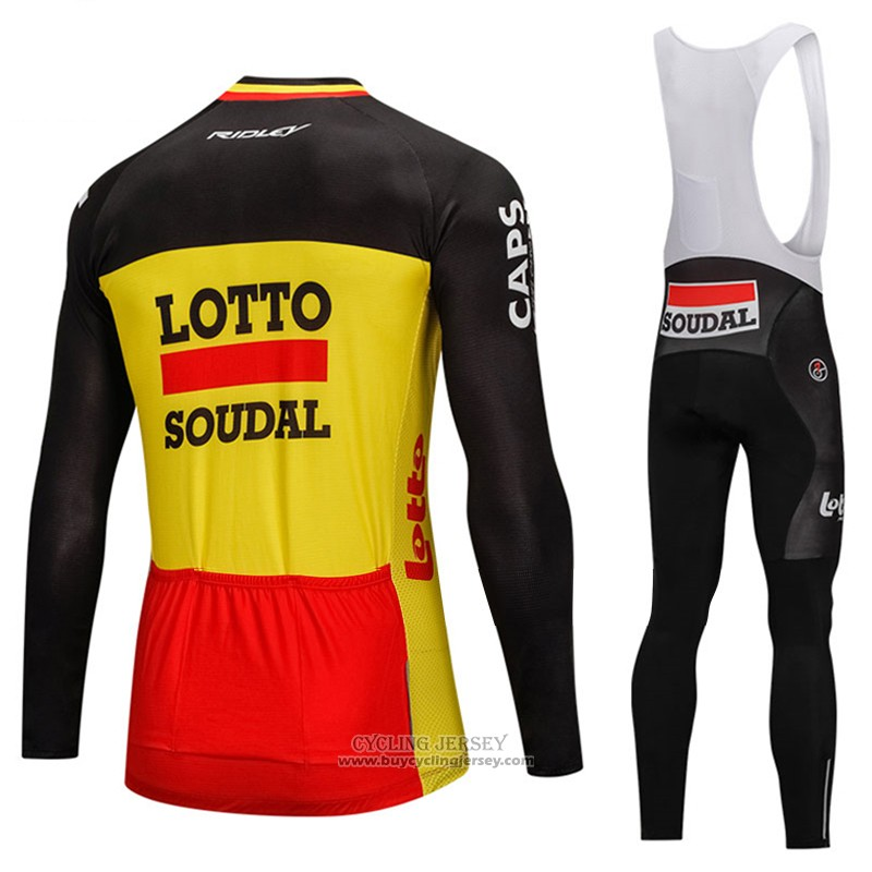 2018 Jersey Lotto Soudal Long Sleeve Black and Yellow