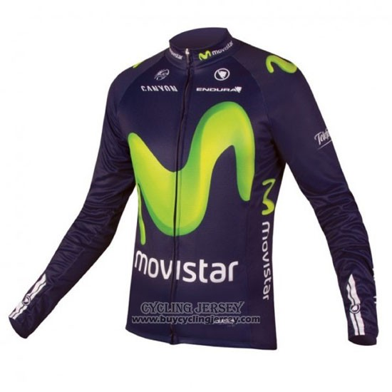 2016 Jersey Movistar Long Sleeve Green And Blue